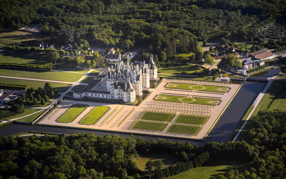 Vue aérienne du château de Chambord