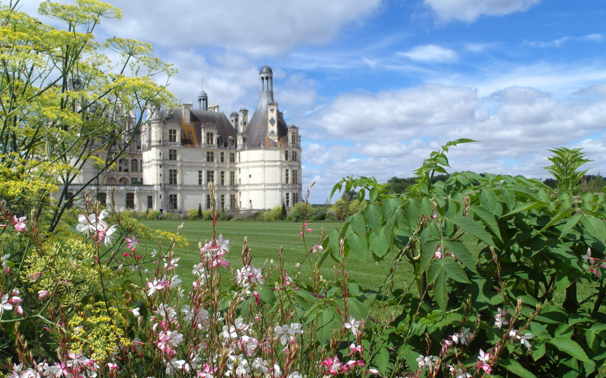 Vue de l'ensemble du château-à-partir du jardin à la française